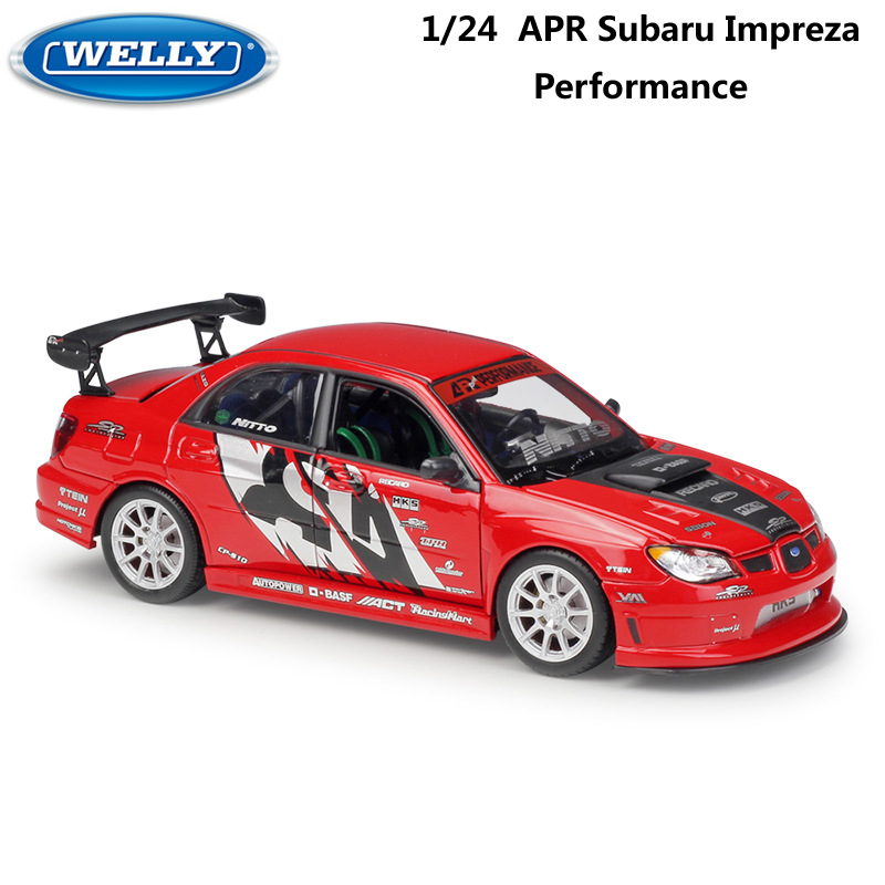 WELLY Diecast Model Car 1:24 Scale APR SUBARU IMPREZA Performance Classic Metal Alloy Toy Car Sports Car For Kid Gift Collection