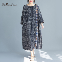 BelineRosa Chinese National Style Vintage Printing Autumn Dresses Three Quarter Sleeve Large Size Women Clothing  HXFS0009