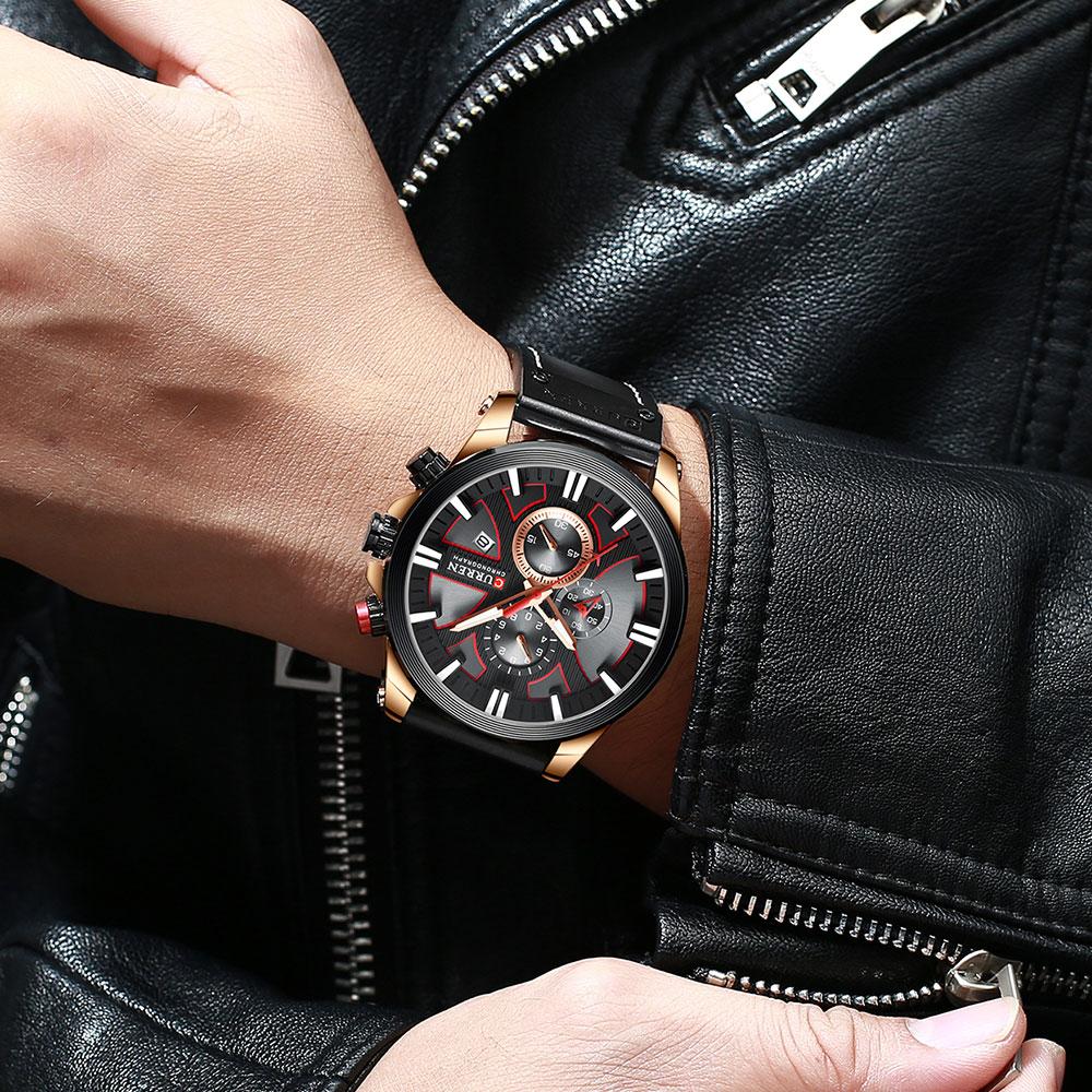 H36c0e05547924c52af89317112eb31bcC CURREN Brand Luxury Men Watch Leather Quartz Clock Fashion Chronograph Wristwatch Male Sport Military 8346 Relogio Masculino