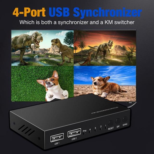 Commutateur 2020 KVM 4 ports USB boîte de partage commutateur périphérique 4 ports commutateur KM multifonctionnel pour le partage du clavier et de la souris USB