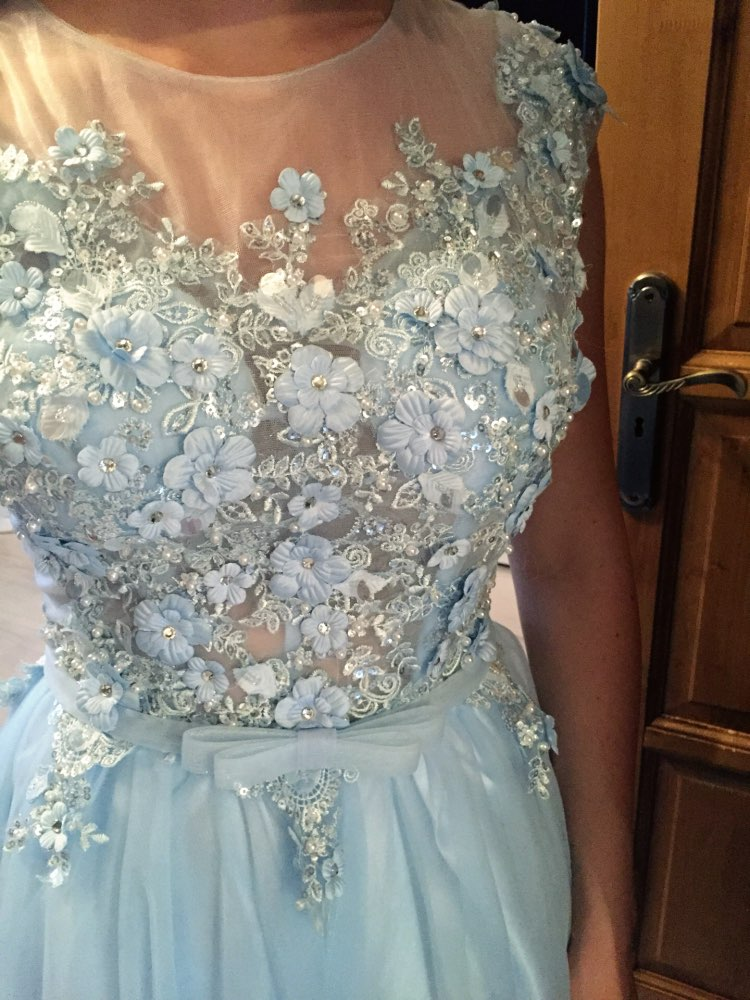 Walk Beside You Blue Prom Dresses Backless Lace Applique Sequined A line Long vestidos longos de formatura Evening Formal Gowns in Prom Dresses from Weddings Events