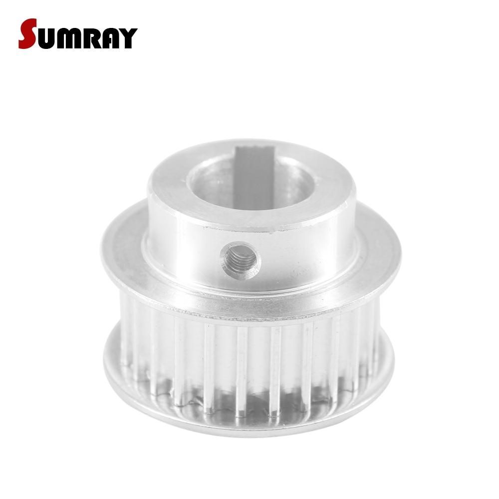 SUMRAY Keyway Timing Pulley 5M 26T 10/12/14/15mm bore keyway diameter 3/4/5mm 16/21mm width Motor Belt for Laser Machine