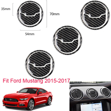 For Ford Mustang 2015-2017 9Pcs Car Styling Carbon Fiber Stickers Interior Air Vent Outlet Trim Cover Sticker Auto Accessories недорого