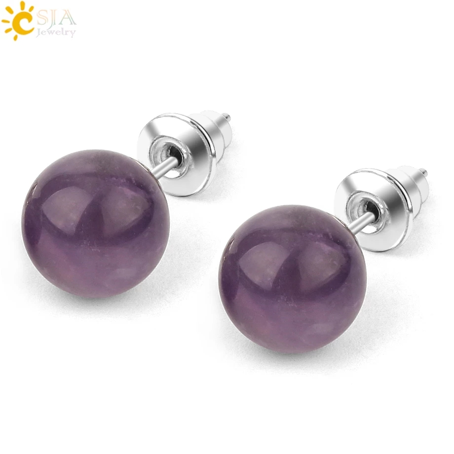 CSJA 8mm Natural Stone Stud Earrings Crystal Quartz Round Ball Beads Silver Color Simple Fashion Ear Jewelry for Women Girl G199