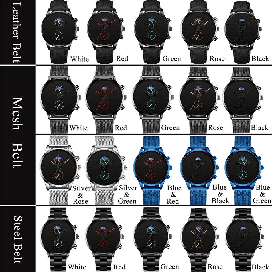 H36c13521ed144f7ca3640c8ddf848b7fj Fashion Mens Business Black Watches Luxury Stainless Steel leather Belt Watch Quartz Men Wrist Watch Relojes Hombre