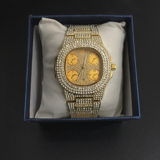 Conjunto de reloj de lujo para hombre, pulsera y collar, anillo, Color dorado, Hip Hop, cristal, hielo, collar de cadena cubana 3