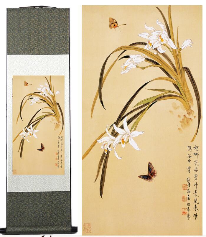 Цветы картины для дома, офиса, украшение китайский свиток живопись Птицы картина с рисунком бабочки и цветочным paintingPrinted