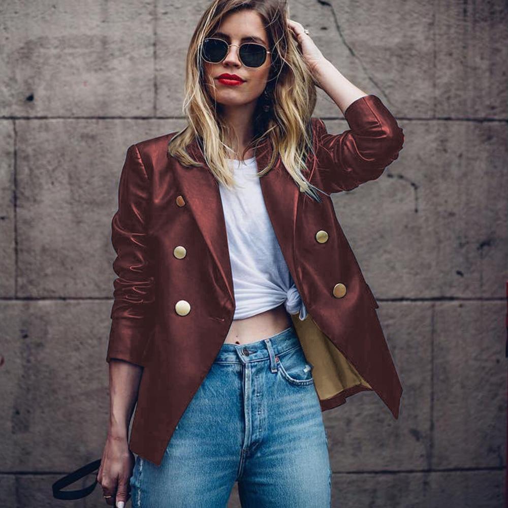 PU Blazer Women Casual Button Spring Autumn Suit Candy Color Ladies Fashion Basic Blazer Streetwear 2019 New Female Outwear D30