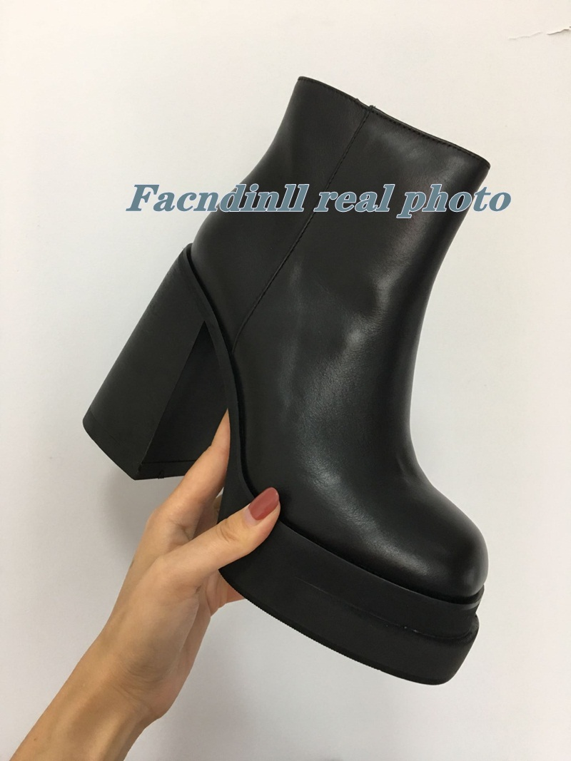 Punk Genuine Leather Women Ankle Boots Side Zipper Chunky High Heels Platform Pumps 2020 Autumn Winter Party  Shoes Woman 34-39