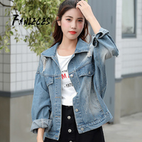 Denim short jacket women's autumn Korean style outwear ins fashion Button Basic embroidery letter wind hole loose Female coat
