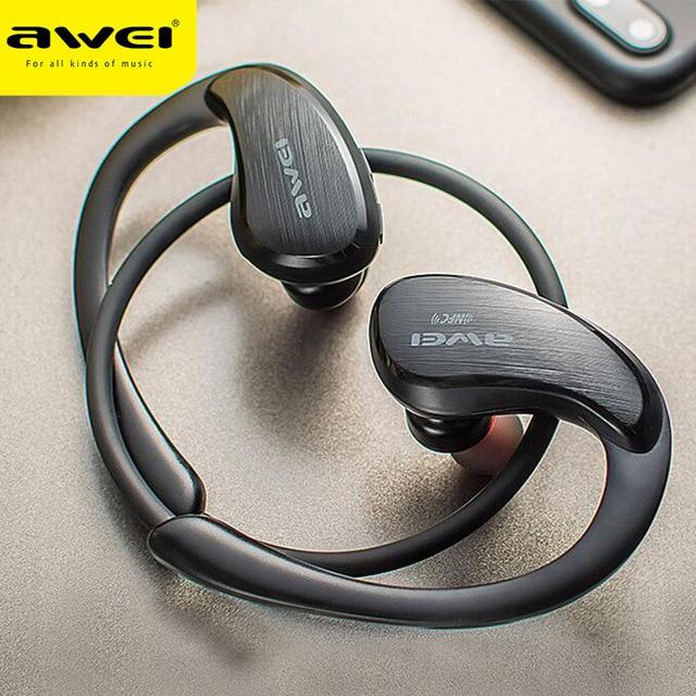 Беспроводные Bluetooth Наушники AWEI A885BL, спортивные Hi Fi наушники с крючком, стерео бас, звук без потерь, NFC, быстрая зарядка