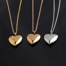 Fashion Trendy Open Heart Photo Locket Pendant Stainless Steel Necklace For Women Lover Rose Gold Silver Color Charm Necklace chereda stainless steel necklace for women man lover s girl gold and silver color pendant necklace engagement jewelry