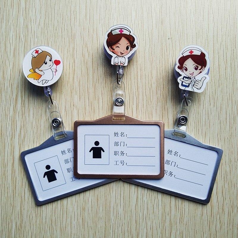 1Pcs Nurse Doctor Retractable Badge Reel with Horizontal Aluminum ID Business Card Work Card Badge Holder Nurse Accessories