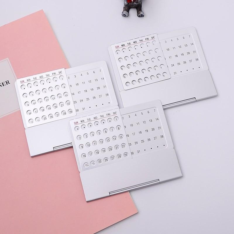 1pc Simple Creative Metal Perpetual Calendar Ultra-thin Desktop Calendar 100 Years Desk Table Calendar Home Office Accessories 6