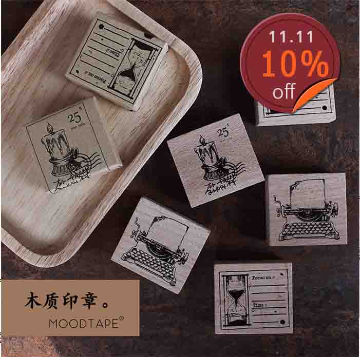 Moodtape Vintage Wood Clear Stamp For DIY Scrapbooking/photo Album Decorative Stamp Candlelight Typewriter Rubber Stamp Seal