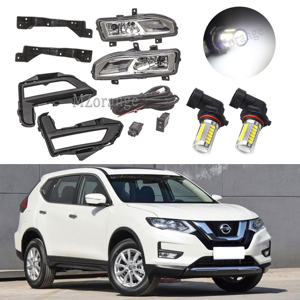 Fog Lights For Nissan X Trail T32 Fog Light X-Trail Rogue 2017-2019 LED Foglights Bracket Wiring Harness Kit Headlight Grille
