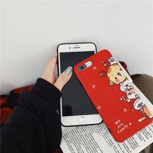 Image 3 - Christmas deer cartoon prezent dla przypadku iphone xr xs max x funda dla iphone 6 6s 8 7 plus silikonowy miękki matowy futerał na telefon czerwony okładka