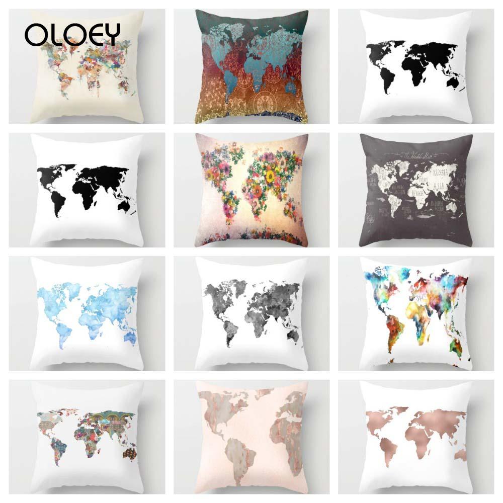 World Map Cushion Cover Decoration 45x45cm Polyester Decoration Cushion Cover Pink Cushion Cover Home School Bedroom Decoration.