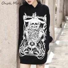 Onoti Molazo Black Gothic Print Women Hoodies Harajuku Grunge Hooded Sweatshirts Streetwear Pullovers Top Femme 2019 Autumn New