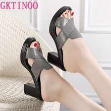 GKTINOO Women's Slippers Sandals 2020 Summer 7cm High Heels Women