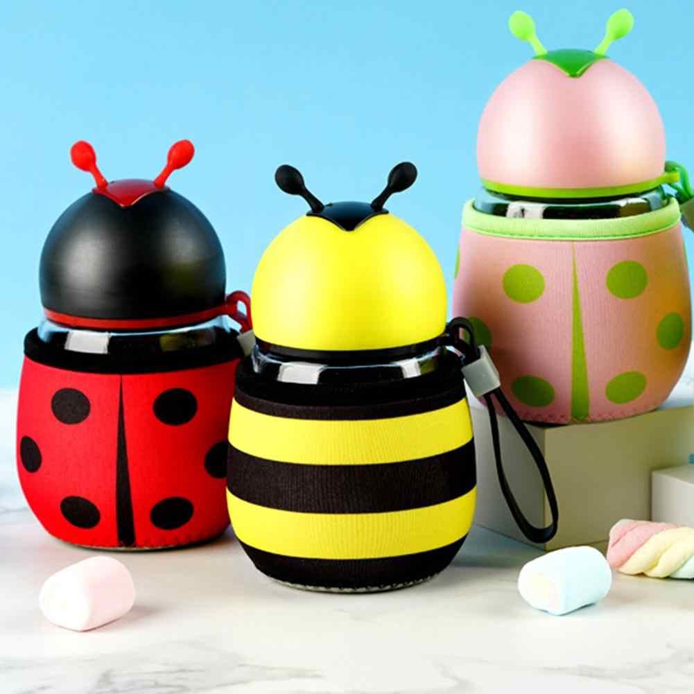 300 مللي كرتوني النحل الخنفساء زجاجة مياه زجاج الأطفال المحمولة شرب غلاية هدية مع الغطاء الواقي مقاومة درجات الحرارة العالية
