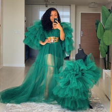 2020 Long Ruffle Tulle Dress for Mother And Puffy Tiered High Low Skirt Dress for Kids Mommy & Me Wear Custom Made