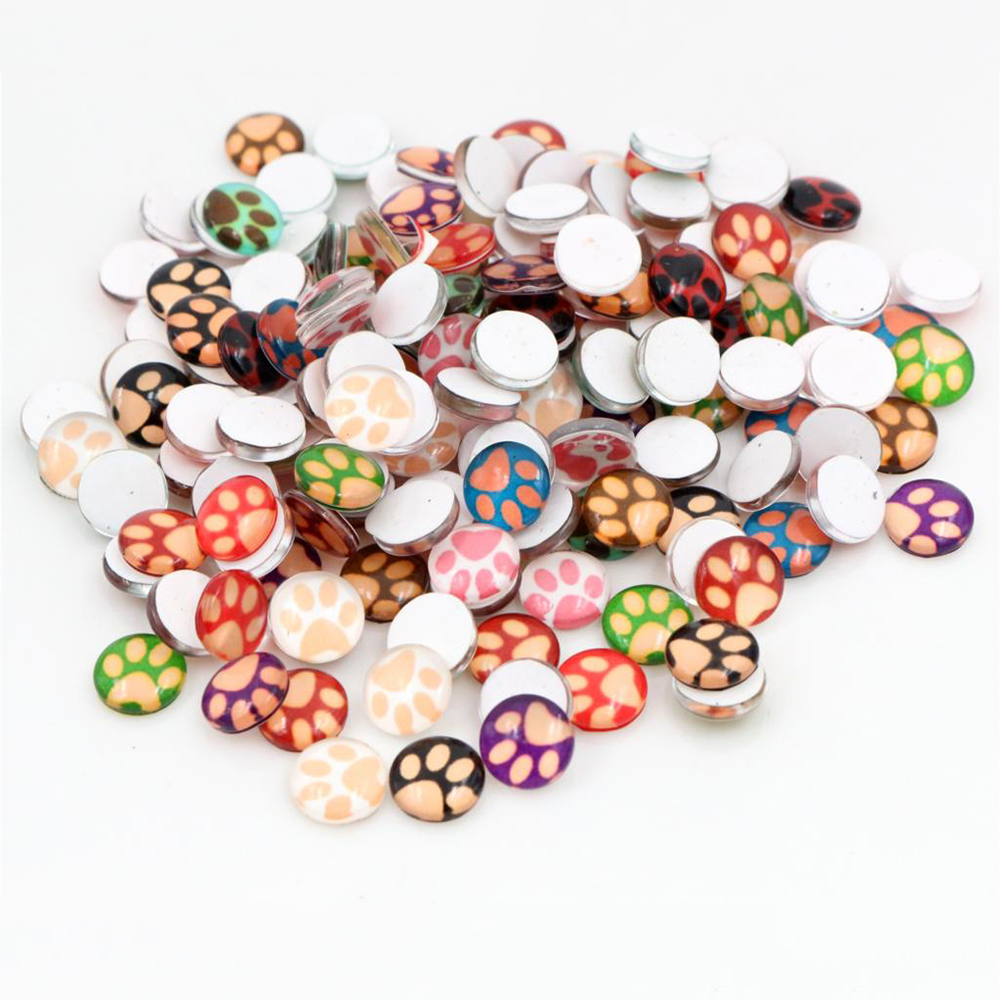 New Fashion Hot Sale 50pcs 8mm And 10mm Mixed Colors Paw Print Style Handmade Photo Glass Cabochons