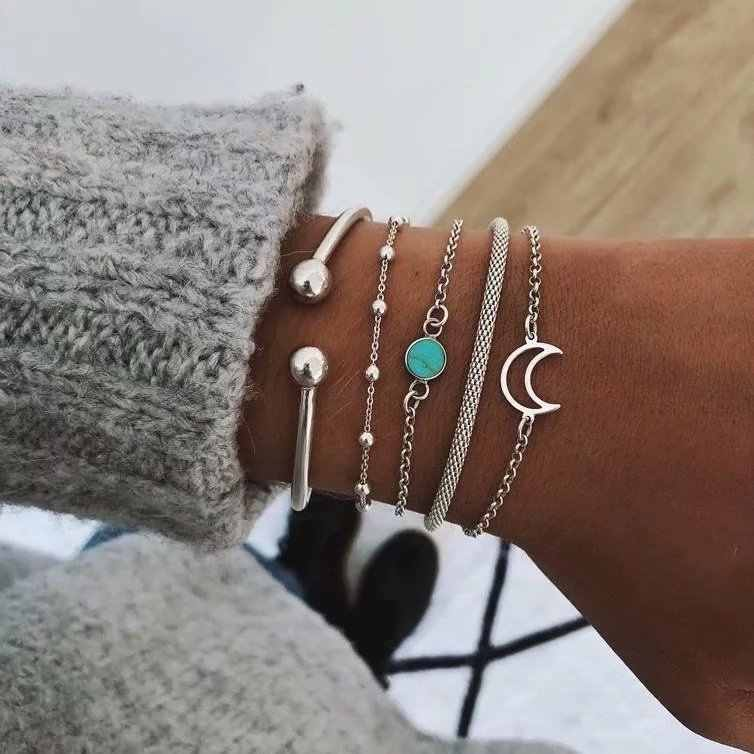 Bohemia Bangle Moon Bead chain Bracelet with stainless steel for Women Charm link bracelets Party Jewelry Accessories wholesale