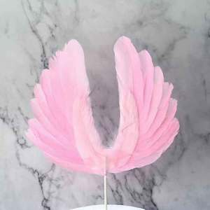 Image 5 - 天使の羽の旗ケーキトッパー結婚式誕生日パーティーベーキングデザートモールドバレンタインデーのケーキ装飾用品