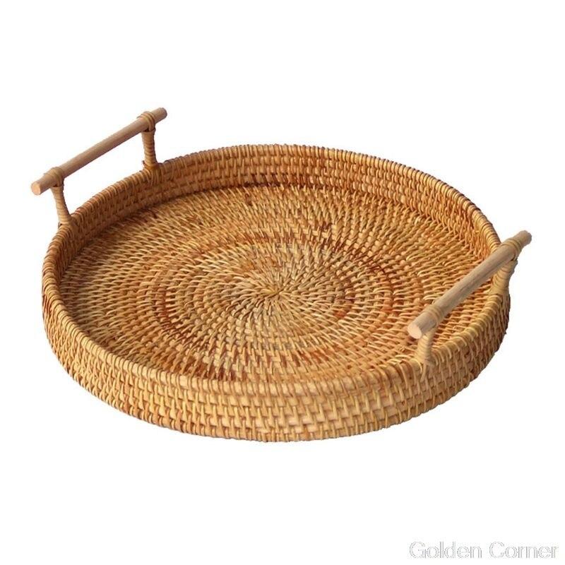 Круглая плетеная корзина для хранения фруктов, поднос ручной работы из ротанга с деревянной ручкой, Классический поднос для хлеба Au10 20, Прямая поставка-0
