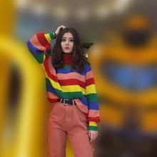 Autumn Women Casual Stripe Loose Sweater Knitted Rainbow Pullovers Striped Long Sleev Turtleneck