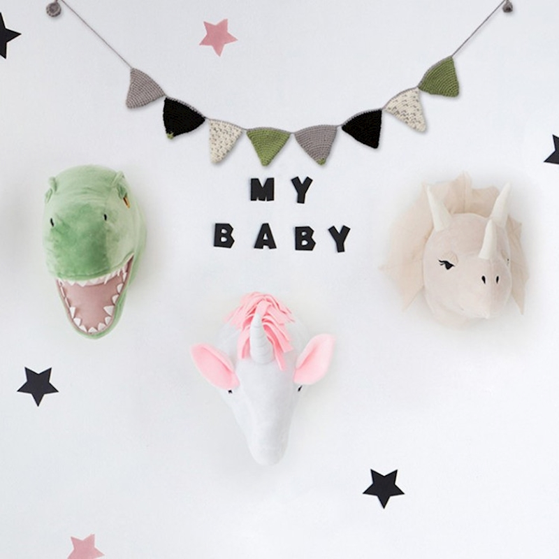 Plush Animal Heads Background Dinosuar Elephant Wall Decor For Baby Photos Kids Room Decoration Toy Photography Accessories