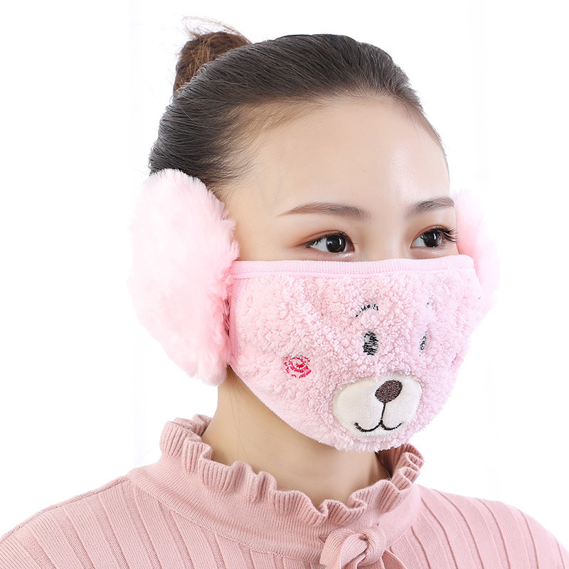 Bear Design Mouth Mask With Earmuff Fashion Women Mouth-muffle Anti-dust Winter Masks Anti Haze Cotton Face Masks With Ear Warm