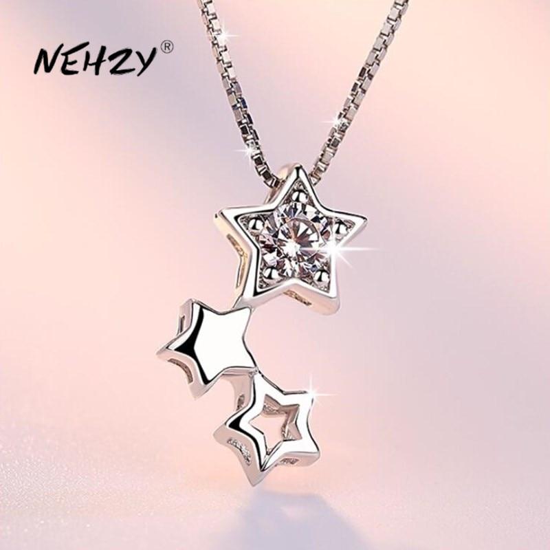 Collar de plata de ley 925 NEHZY, joyería a la moda, nuevo collar de circonita de cristal con estrella de cinco puntas para mujer, longitud 45CM