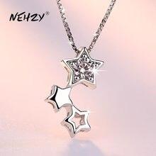 NEHZY-collar con colgante de plata de ley 925 para mujer, joyería de moda, estrella de cinco puntas, collar de cristal de circón 45CM de longitud