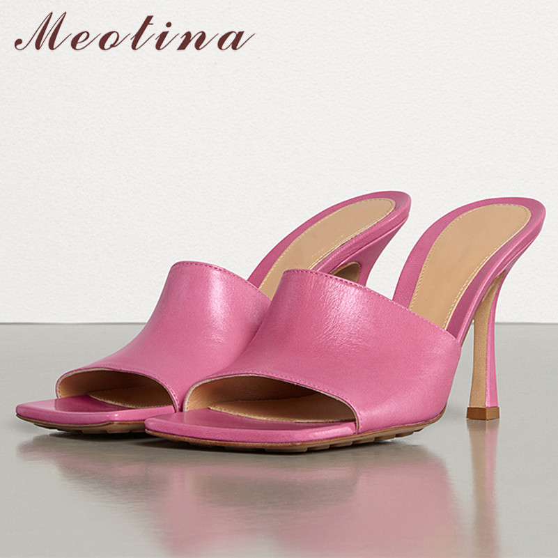 Meotina Summer Slides Women Shoes Natural Genuine Leather Thin Heels Shoes Real Leather Extreme High Heel Slippers Lady Sandals
