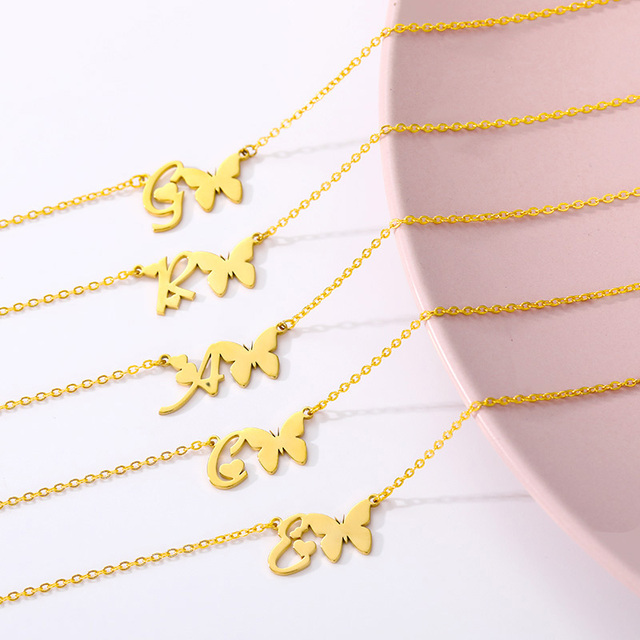 Initial Necklace With Butterfly For Women Stainless Steel Gold A-Z Letters Butterfly Necklace Femme Best Friend Jewelry BFF Gift 6