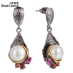 Dreamcarnival1989 Elegant Pearl Drop Earrings for Women Dating Must Have Fuchsia Dazzling Zircon Love Anniversary Jewelry WE3986