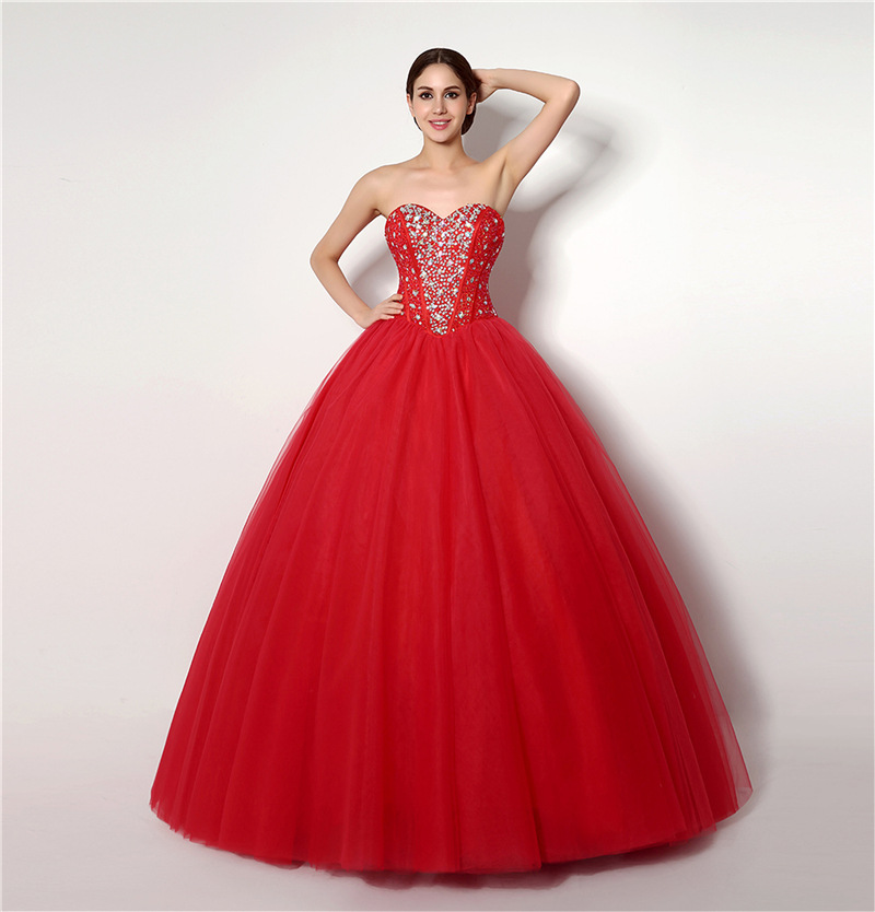 Red Ball Gown Wedding Dresses Elegant Beaded With Sequin Lace Up Bridal Dresses Custom Made Plus Size Backless Wedding Gown 2019