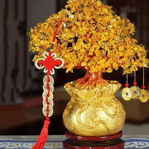 Image 4 - 19cm Lucky Tree Wealth Yellow Crystal Tree Natural Lucky Tree Money Tree Ornaments Bonsai Style Wealth Luck Feng Shui Ornaments