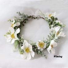 festive party supplies white Gessam fake flower Bride Wedding Wreath Artificial Simulation flower Headband for girls women цена и фото