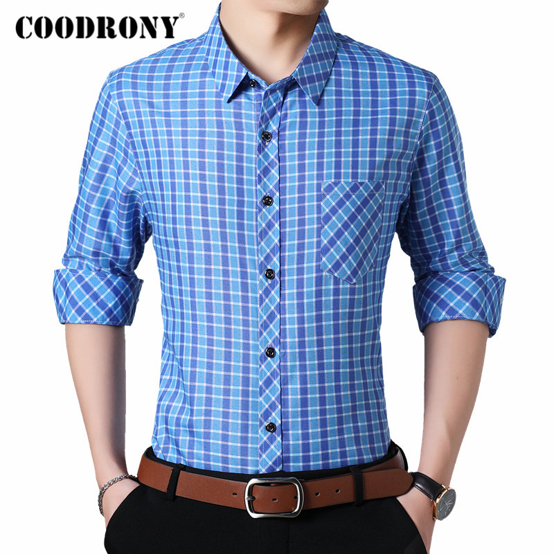 COODRONY Brand Men Shirt Streetwear Casual Shirts Autumn Long Sleeve Cotton Shirt Men Plaid Camisa Masculina With Pocket 96092