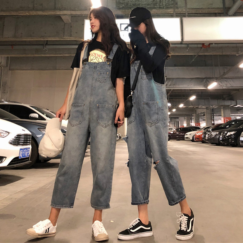Spring And Summer WOMEN'S Dress Korean-style Loose Retro Suspender Strap Onesie Jeans High-waisted With Holes Loose Pants Capri