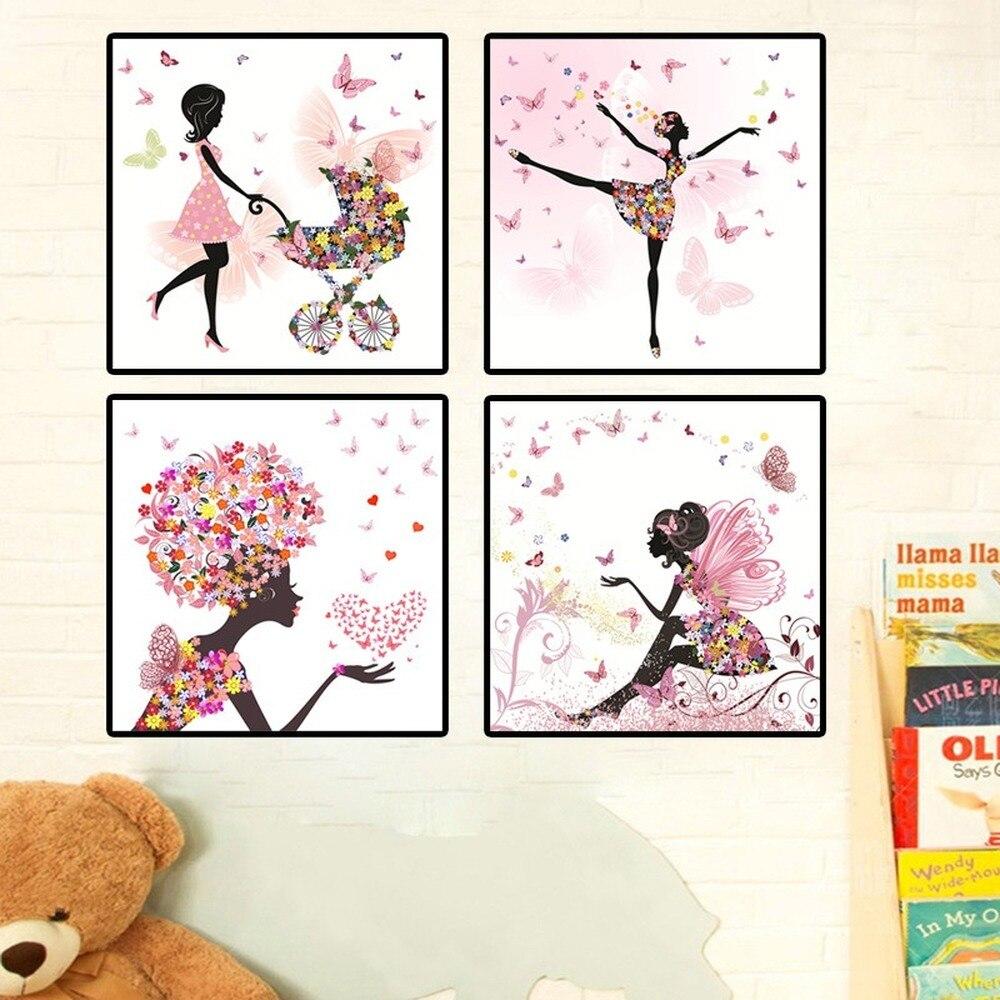 Cute Flower Elf Dance Girl Canvas Painting Cartoon Butterfly Fairy Float Poster Children's Room Kindergarten Wall Art Pictures