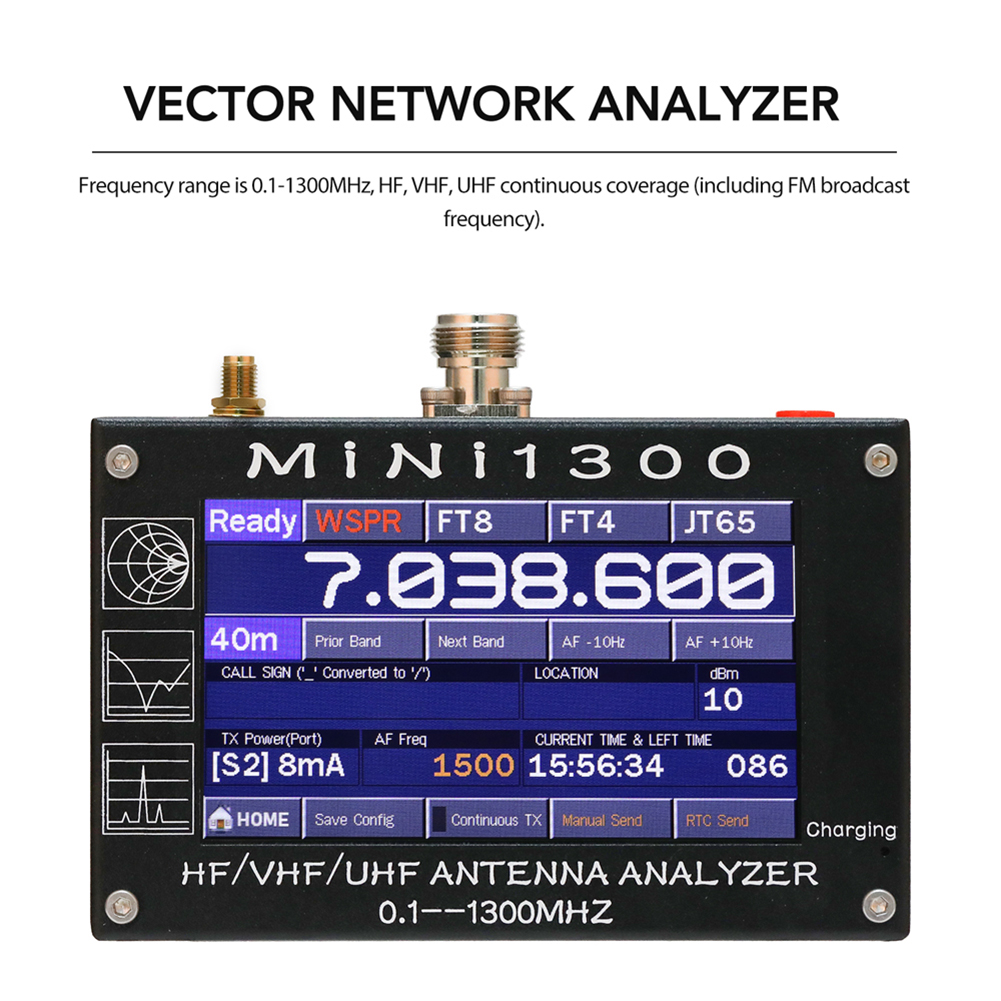 4.3 Inch Touch Screen 0.1-1300MHz HF VHF UHF ANT SWR Antenna Analyzer Inner Battery 5V/1.5A 1.01Firmware Version