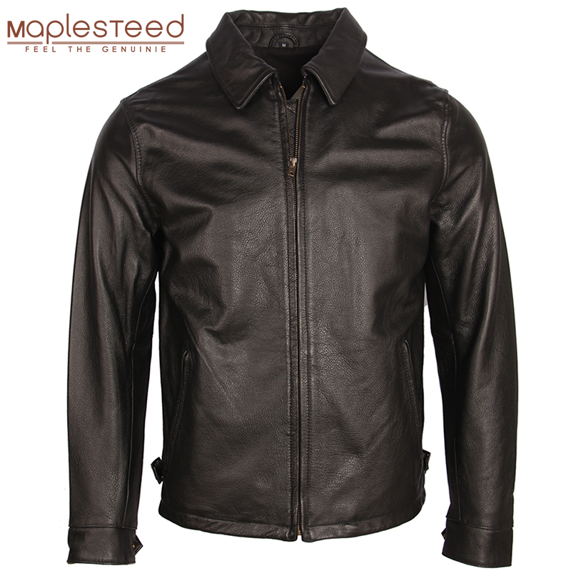Distressed Leather Jacket Men Leather Coat Vintage Stone Milled 100% Natural Calfskin Bomber Leather Jackets Spring Autumn M252