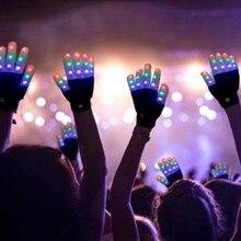 1 шт. ovelty вечерние свечение вечерние поставки красочные светящиеся перчатки из двух предметов на Хэллоуин, Детский костюм светодиодный ночной мигающий теплые перчатки светильник на кончик пальца