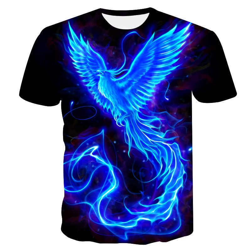 20193d. Phoenix Aantal Afdrukken Vrije Tijd Ronde Hals Trui Liefhebbers Jurk T-shirt