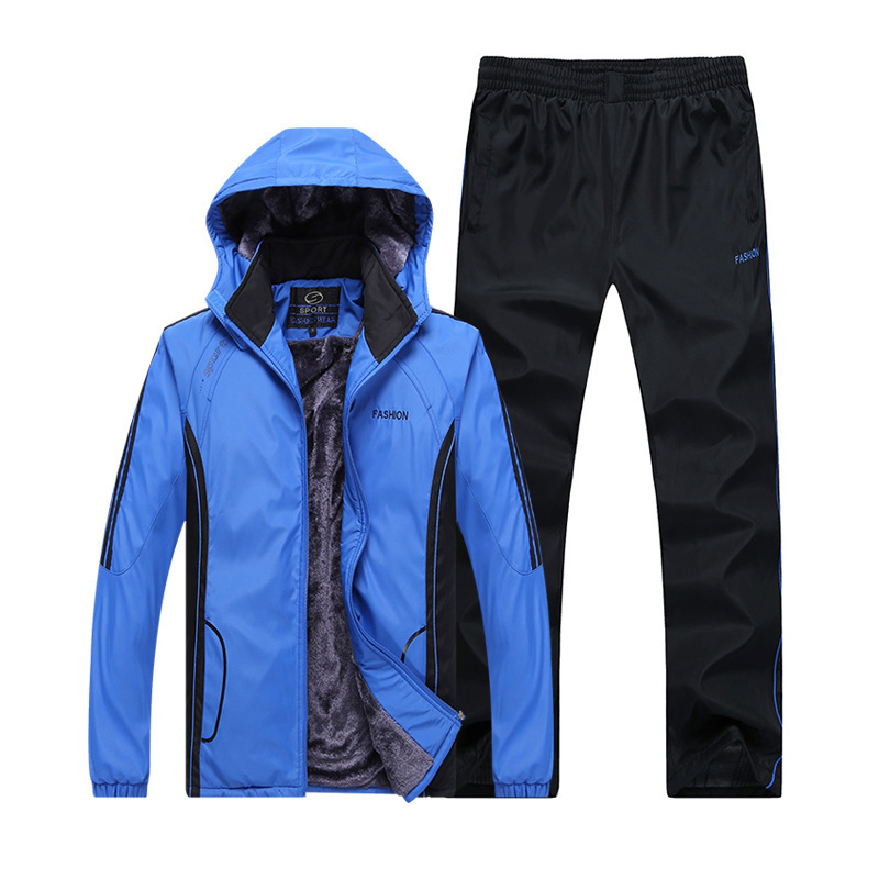 Men 2020 Winter Keep Warm Windproof Running Hooded Cashmere Thickening Fitness Jogging Training Suit Sport Clothing