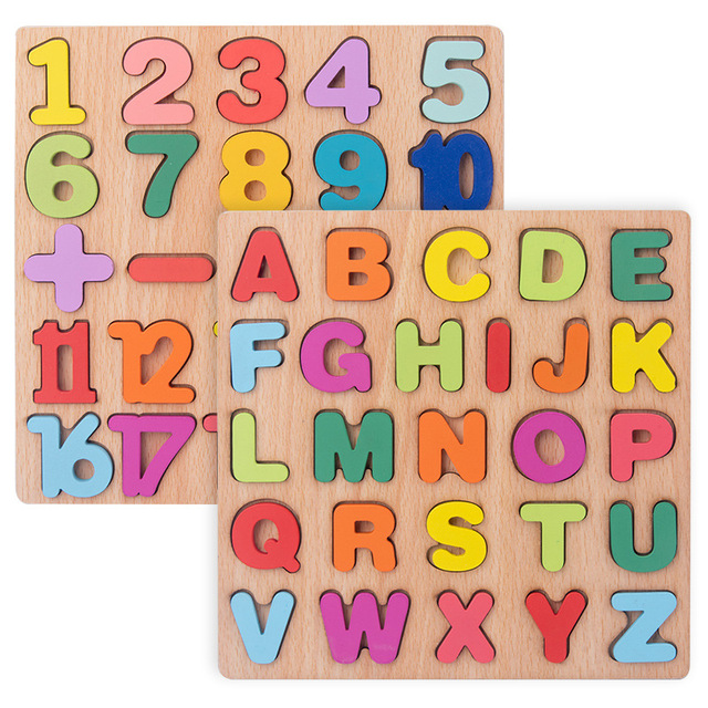 New Wooden 3D Puzzle Toy Kids English Alphabet Number Cognitive Matching Board Baby Early Educational Learning Toys for Children 4